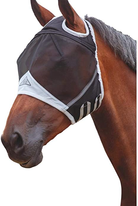 Shires Fine Mesh Fly Mask With Ears  and  Nose in Black UV Protection