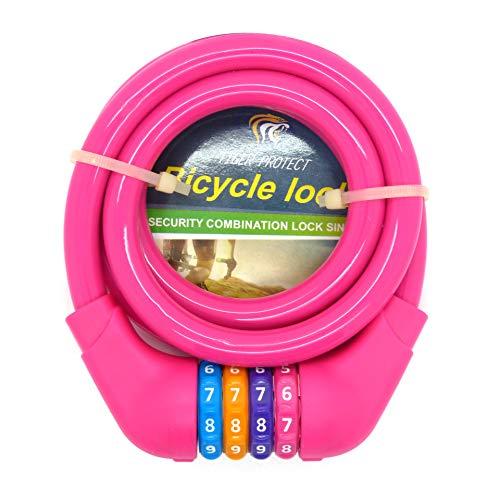 Starlet24 Kinder Fahrradschloss Schloss Zahlenschloss Fahrrad Spiralschloss 1,2cm x 120cm Rosa