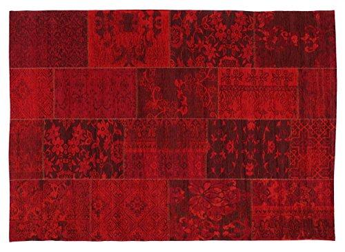DALLIANCE ALLOVER Vintage Patchwork Velour Teppich in dk.rot, Größe: 70x140 cm