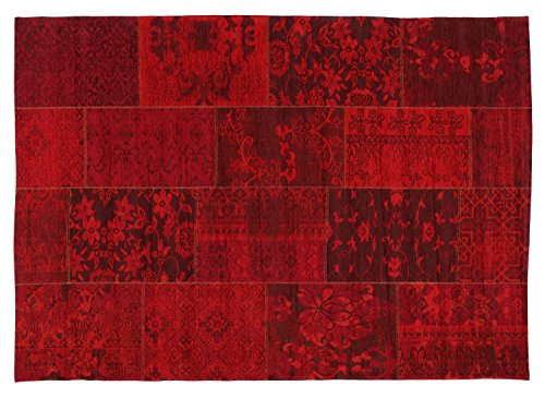 DALLIANCE ALLOVER Vintage Patchwork Velour Teppich in dk.rot, Größe: 40x60 cm
