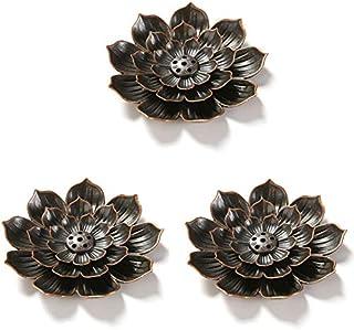 NANAOUS Lot de 3 porte-encens lotus en laiton avec récupérateur de cendres pour parfum d'intérieur