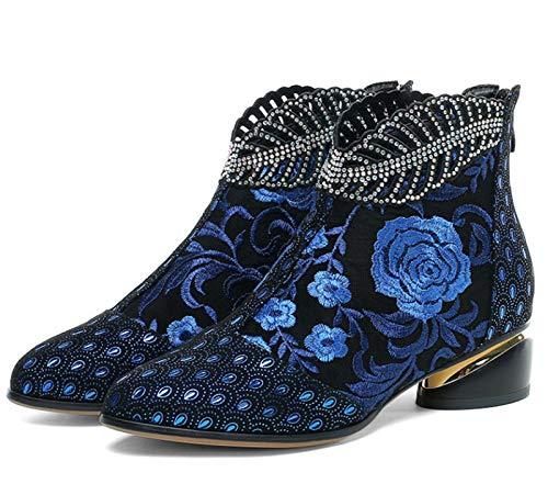 ZLFCRYP Zapatos de Moda Genuino de Las Mujeres de Cuero de Vaca los Cargadores del Tobillo Botas étnicas patrón Estilo de la Flor blue-35