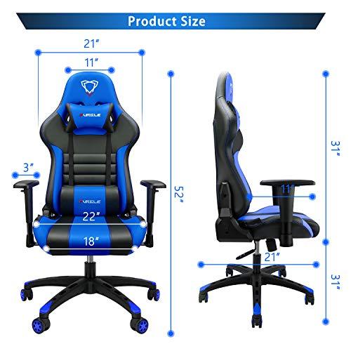 Furgle Sedia Gaming Gioco Sedie da Ufficio Girevole Ergonomica Poggiapiedi Retrattile Poltrona di PU Gaming con Poggiapiedi (Nero & Blu)