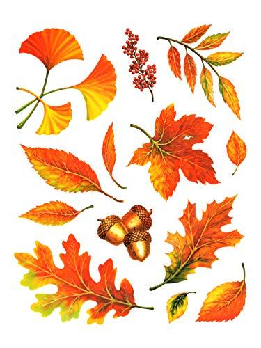 dpr. Fensterbild Set 13-TLG. Herbst Blätter Ginkgo Eicheln Laub mit Glimmer Fenstersticker Fensterdeko Herbstdeko