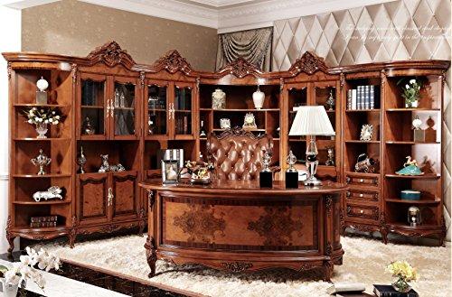 Ma Xiaoying Büroschränke und Schreibtisch und Bürostuhl, Antik-Möbel, Massivholz Buche geschnitzt, europäischer klassischer Stil, Braun