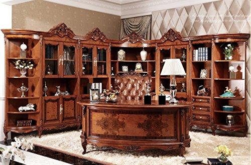 Ma Xiaoying gabinetes de oficina y silla de escritorio y oficina, muebles antiguos, madera maciza de haya tallada a mano, estilo clasico europeo, color marron