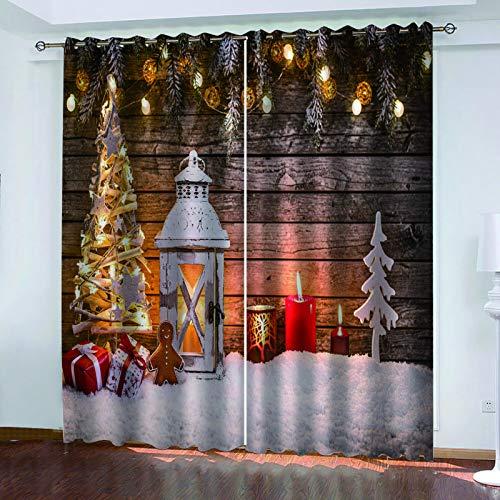 MMHJS Cortinas con Estampado De Papá Noel En 3D, Cortinas De Sombrilla para Balcón De Dormitorio Y Sala De Estar, Artículos para El Hogar, Decoración De Paredes (2 Piezas)