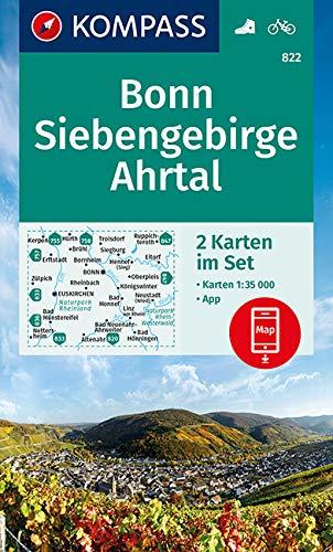 KOMPASS Wanderkarte Bonn, Siebengebirge, Ahrtal: 2 Wanderkarten 1:35000 im Set inklusive Karte zur offline Verwendung in der KOMPASS-App. Fahrradfahren. (KOMPASS-Wanderkarten, Band 822)