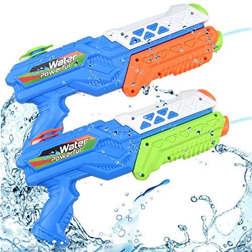 Natuce Pistolas de Agua 2 Pack Pistola de Agua Chorro de Agua Squirt Gun Grandes con Capacidad 520ML Pistola Agua de Largo Alcance 11 Metros Juguetes de Verano Caliente para Niños Años Adultos