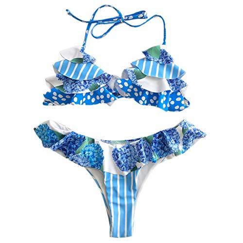 KunmniZ Mujeres Sexy Bikini Set Soporte Ruffles Barrileño Bañador Boho Floral Ropa de Playa Vista del Traje de baño ecológico para Rayas de Vacaciones Playa de