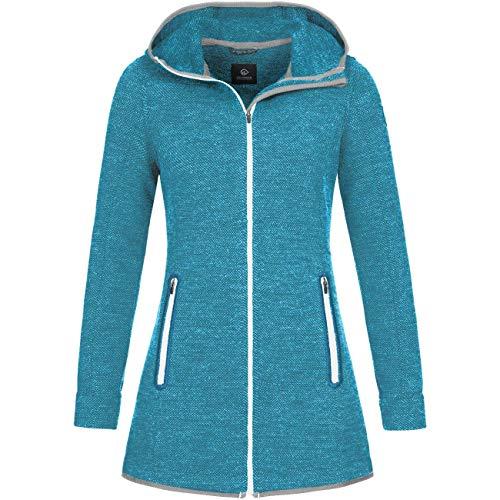 GIESSWEIN Jacke Samira - Lange Damen Jacke aus Merinowolle, Walk-Mantel mit Kapuze, Atmungsaktive Outdoor Sport & Freizeit-Bekleidung