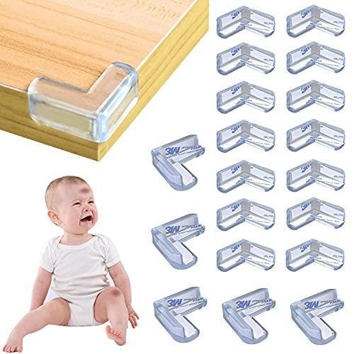 WELLXUNK® Transparent Eckenschutz, 25 Stück Eckenschutz für Kinder, Transparent Tischeckenschutz, Transparenter Kantenschutz, Perfekt für Tischecken und Möbelecken Schützt Babys und Kinder