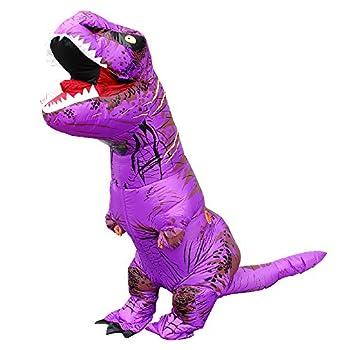 KOOYNN Inflatable Dinosaur T-REX Costume Halloween Blow up Costumes Adult  PURPLE