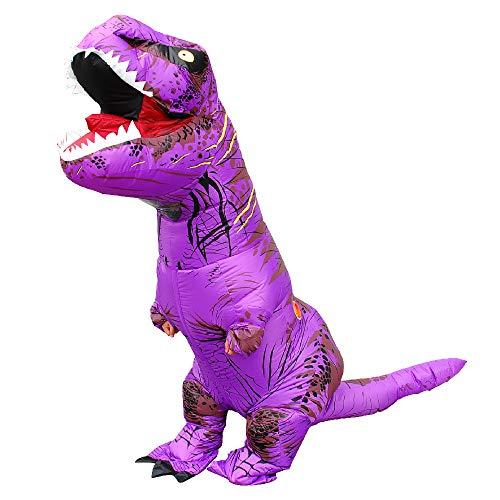 KOOYNN Inflatable Dinosaur T-REX Costume Halloween Blow up Costumes Adult (Purple)