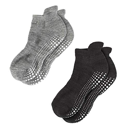 LA Active Grip Socks - 2 Pairs - Yoga Pilates Barre Ballet Non Slip Covered (Slate Grey and Stellar Black, Large)
