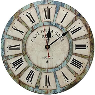 Decorative Wall Clock,Silent Wall Clock Non Ticking for Living Room Kitchen Bathroom Bedroom Round Vintage Decor 13.5  RELIAN