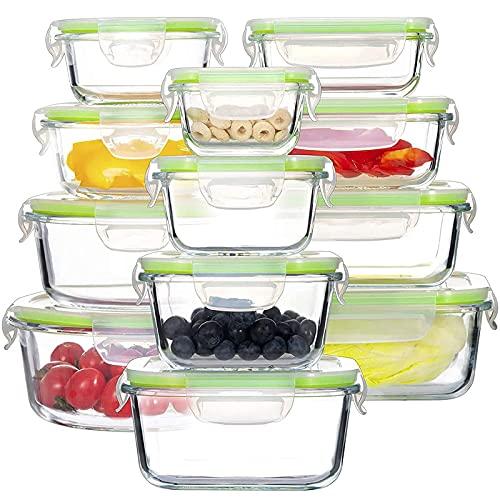 GENICOOK Glas-FrischhaltedosenSet-Glasbehälter/Brotdose/vorratdose/Aufbewahrungsbehälter - BPA frei & LFGB-zugelassen für Home Küche oder Restaurant (12er)