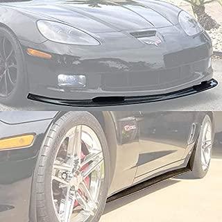 For 2005-2013 Chevrolet Corvette C6 Z06 & Grand Sport   EOS ZR1 Style ABS Plastic Primered Black Front Bumper Lower Lip Splitter With 1 Pair Side Skirt Rocker Panel Mud Flap
