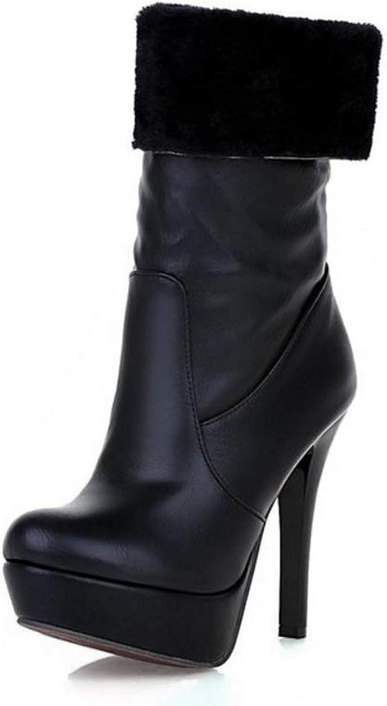 LVYING Womens Super High Heel Mid Calf Boots Thick Platform Fur Warm Slip On Winter Botas