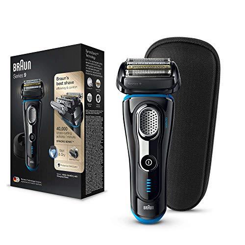 Braun Series 9 9242 s Afeitadora Eléctrica Hombre: Afeitadora Barba Con Base De Carga Y Funda Para Viaje, Negro/Azul Eloxal
