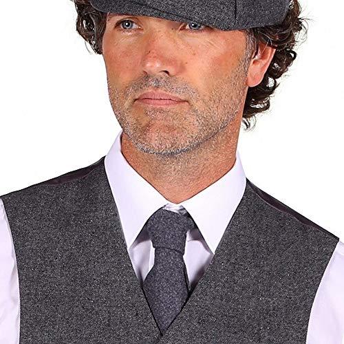 shoperama 20er Jahre Peaky Blinders Kostüm-Zubehör Krawatte in Tweed-Optik Schlips 1920er, Farbe:Grau
