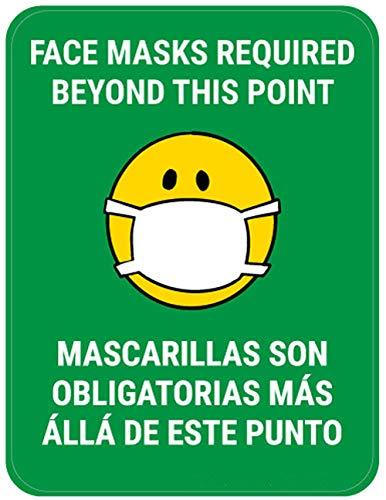 Segnaletica di sicurezza Vinly Decal Maschere per il viso necessarie oltre questo punto Bilingue con maschera facciale Emoji - Verde - Cartello per pavimento 12x15 pollici Prevenire Covid 19