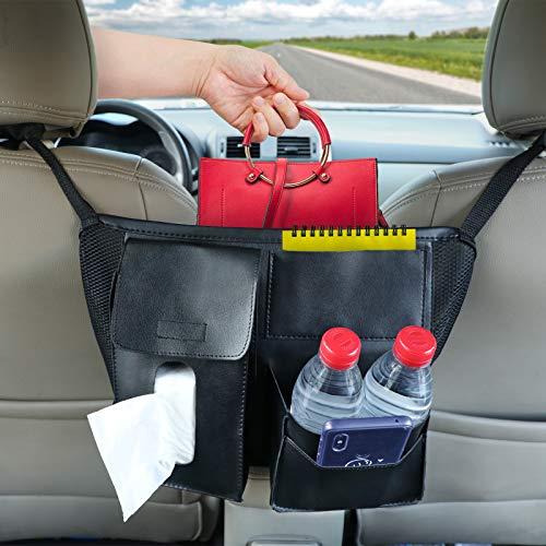 Fekey&JF Car Cache - Handbag Holder, Car Seat Back Organizer Leather Mesh Large Capacity Bag for Purse Storage Phone Documents Pocket,Barrier of Backseat Pet Kids, Cargo Tissue Holder (Black 3)