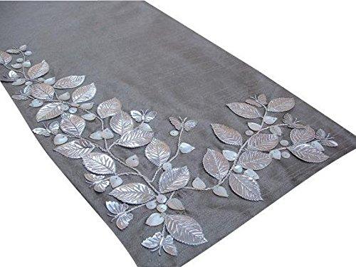 Handgefertigt, Designer, Dekorative Tischläufer - Silber Beige, Silber, Elfenbein - 35 x 90 cm - Seide - Perlen Tischläufer Silber Schöne Schmetterling Perlmutt Bestickte Elegante Tischwäsche Modern