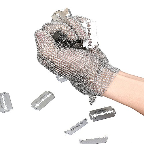 Anself Stainless Steel Mesh Gloves, Cut Resistant Gloves for Kitchen Butcher Working Safety