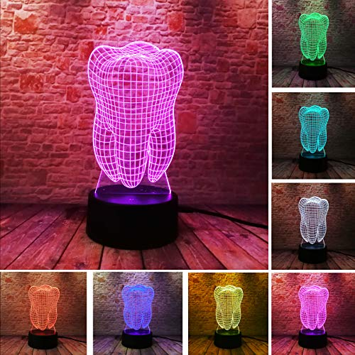 New Fantastic Illusion Tooth 3D LED Night Light Colorful Kids Baby Bedroom Atmosphere Touch Table Cool Lamp as Gift for Dentist(Tooth)