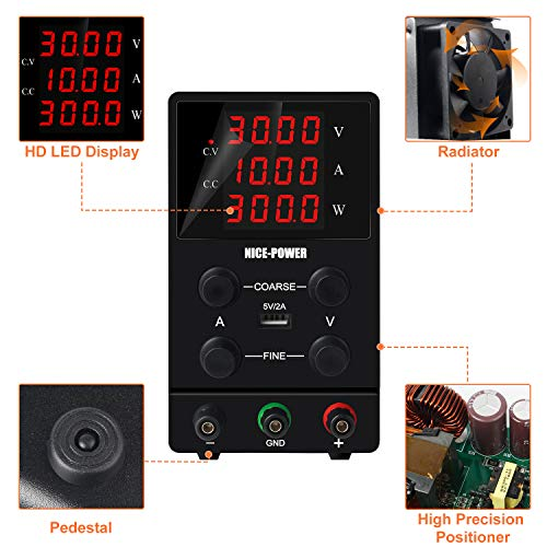 NICE-POWER Variable Bench Power Supply (0-30V, 0-10A) 4Digital LCD Display DC Power Supply Adjustable Regulated Higher-Precision for Lab Power Supplies with Banana Plug Test Leads