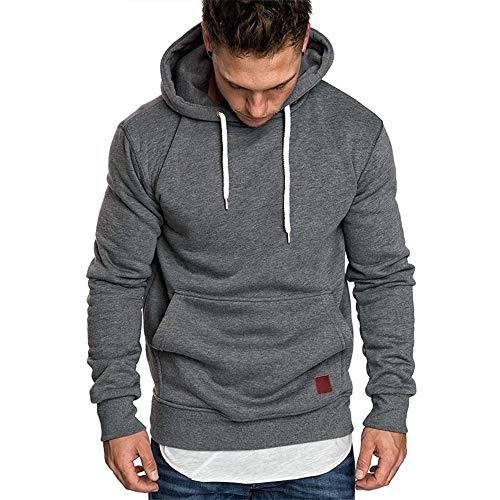 Herren Sweatshirt Kapuzenpullover Pullover Hoodie Hoher Kapuzenansatz Känguru-Tasche Gerippte Ärmel und Abschlussbündchen Sweatjacke Casual Streetwear Basic Style, Dunkelgrau, XL
