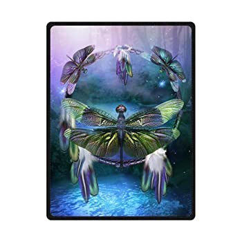 60  x 80  Blanket Comfort Warmth Soft Cozy Air Conditioning Easy Care Machine Wash Dream Catcher Spirit of The Dragonfly