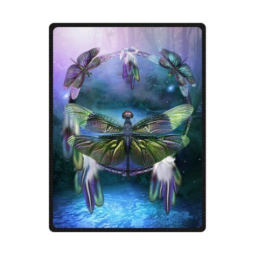 "50"" x 80"" Blanket Comfort Warmth Soft Cozy Air Conditioning Easy Care Machine Wash Dream Catcher Spirit of The Dragonfly"