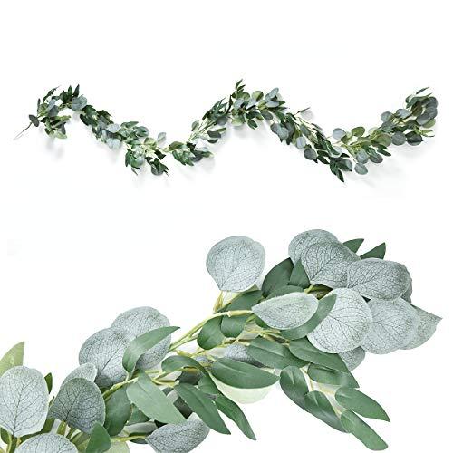 Xunlong - Guirnalda de hojas de eucalipto artificial con enredaderas de sauce para decoración de bodas, cenas, fiestas, decoración de pared