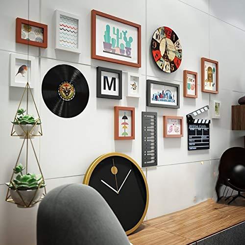 LHKAVE Creative 12 pièces Ensembles de Cadres Photo en Bois Tenture Murale Artware Photos Cadre pour la décoration de la Maison en Bois Artisanat Mur de Photo,B