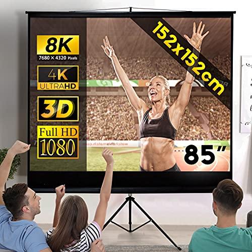Jago® Écran de Projection 152x152 cm - avec Trépied, 85 Pouces, Enroulable, Formats 1:1, 4:3, 16:9, HD 4K 3D - Toile de Projecteur, Home Cinema, Vidéoprojecteur
