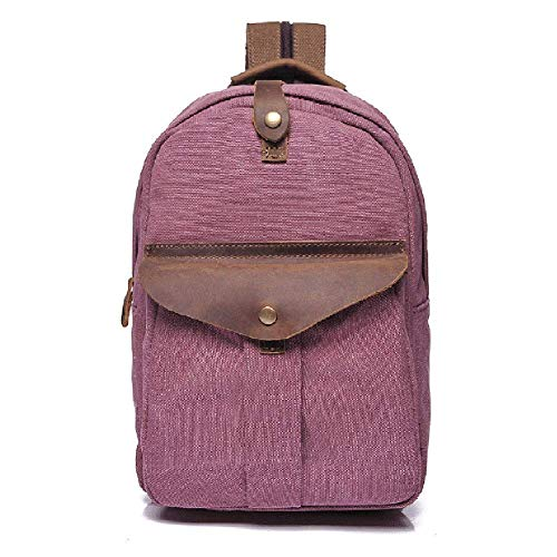 Thumby heren schoudertassen mode retro canvas rugzak borstzakken schoudertassen met suède zakken geschikt voor wandelen fiets reizen outdoor vrije tijd tas roze