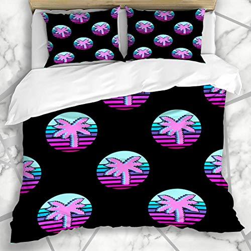HATESAH Ropa de Cama - Funda nórdica Culture Neon Vaporwave Pattern Patches Badges Pink 80S 90S Black Color Frase de diseño Microfibra Nuevo Set de Tres Piezas Funda de edredón 140 * 200