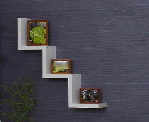 ATR étagère Murale en Forme de W, Multi-Fonctions en Bois, pour Rangement Mural, facultative Multi-Couleurs (Couleur  Blanc)