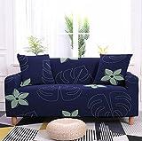 Funda Sofa 3 Plazas Fundas para Sofa Hojas de Palmera Tropical Azul Oscuro Fundas de Sofa Elasticas Fundas para Sofá Ajustables Estampada Cubre Sofa con 1 Funda de Cojín
