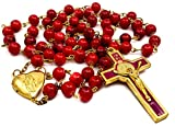 Nazareth Store - Rosario de San Benito Cuentas de cristal rojo Cruz de San Benito Cruz Medalla...