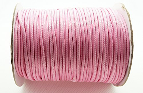 PINK 2mm Faux Imitation Leather Polyester Braided Cord Macrame Bracelet Thread Artisan String (100yards Spool)