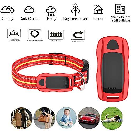 Hangang GPS Tracker pour Gros Chiens et Chat,Collier GPS Chiens étanche,Suivi d'activité pour Moyen et Grand Animal de Compagnie (Rouge)