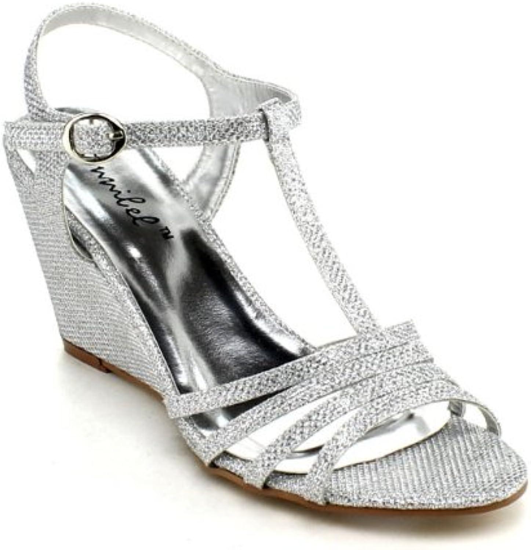 Bonnibel Womens Flosa-1 Glitter T Strap Wedge Dress Sandals