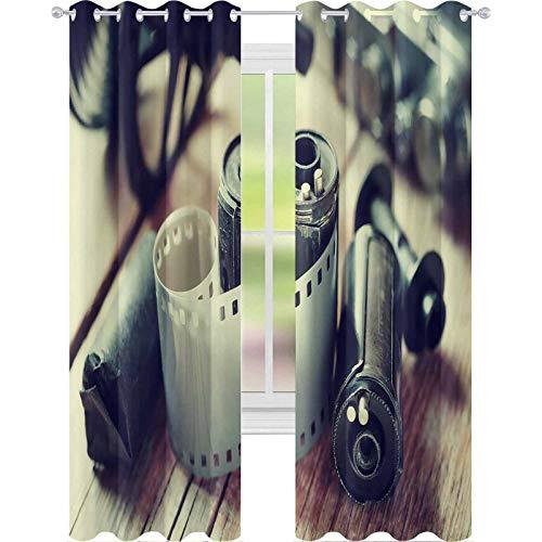 YUAZHOQI Cortinas para oscurecer la habitación vieja película de fotos Rolls cassette y cámara retro estilo vintage 52 pulgadas x 160 cm cortinas para sala de estar