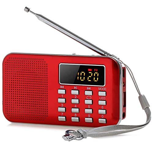 Lsmaa Mini radio, con función de linterna, efecto superdifusión, color más resistente al desgaste, graves fuertes y agudos completos, adecuado para escuchar la transmisión casual (color: rojo)