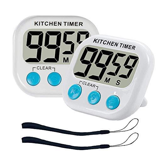 ZFYQ Temporizador de Cocina, Digital magnético Temporizadores con Alarma Fuerte y Pantalla LCD Grande, 2 Piezas