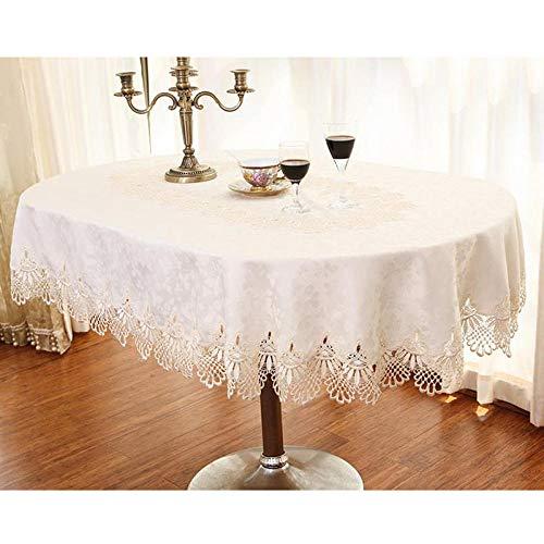 shunzianson Beige runde Tischdecken floral bestickte Spitze dekorative Party Tischdecke Hause Oval/Rechteck Esstisch Abdeckung-Beige_Oval 140x200cm