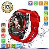 FENHOO Smartwatch SN08 Smart Watch con slot per scheda SIM Touch Screen Fotocamera Pedometro Orologio Intelligente Compatibile Samsung Xiaomi Huawei Telefoni Android e iOS Uomo Donna Bambini (Rosso)